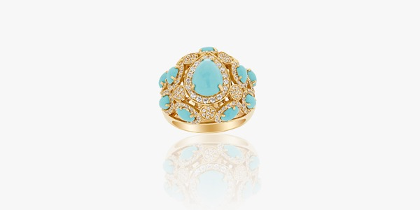 18K gold ring set with zirconium and turquoise.