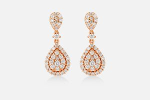 Boucles d'oreilles en or rose et diamants
