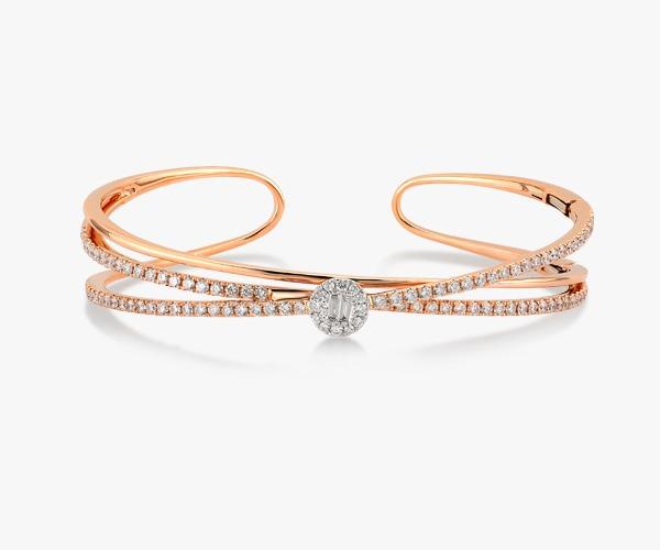 Pink gold and diamond bracelet