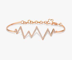 Bracelet diamants -en-or-rose-18K-battement-de-cœur