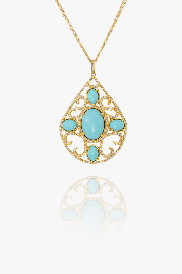 18K gold necklace set with zirconium and turquoise.