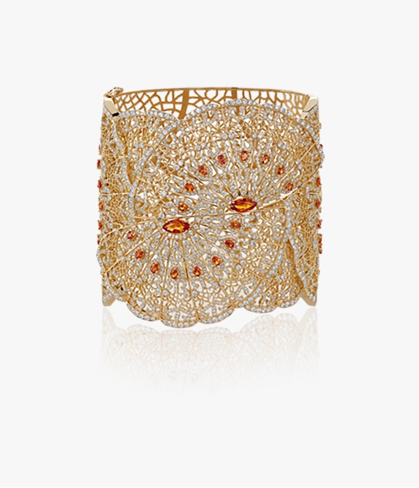 manchette en or rose et citrine et diamants
