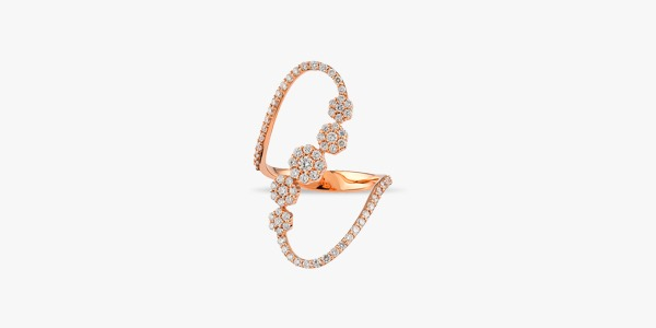 Bague somptueuse en or rose 18K diamants Rafinity
