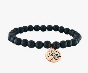 Bracelet-en-or-rose-18-K,-composé-de-pierres-noires-