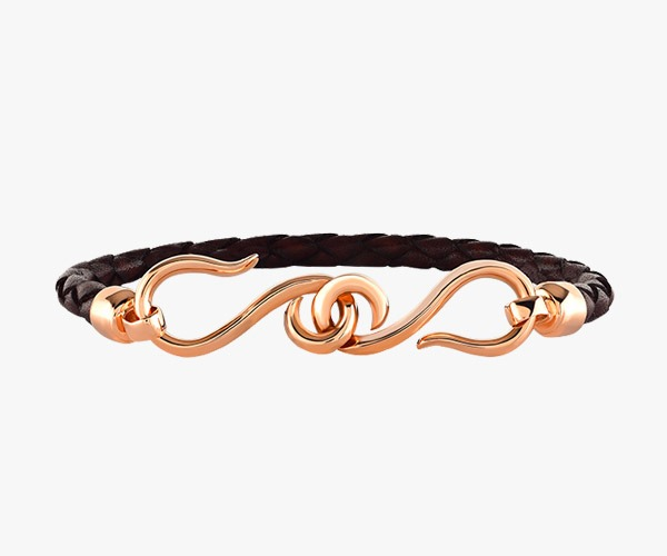Bracelet-in-gold-rose-18-K,-leather-woven-and-close-clasp-