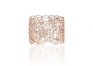 manchette en or rose et diamants