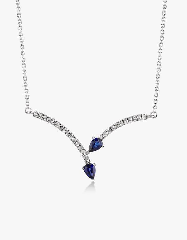 Collier-en-or-blanc-18-k-orné-d'un-pavé-de-diamants-et-de-saphir