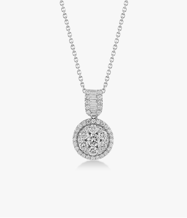 18K white gold necklace adorned with a diamond pavement