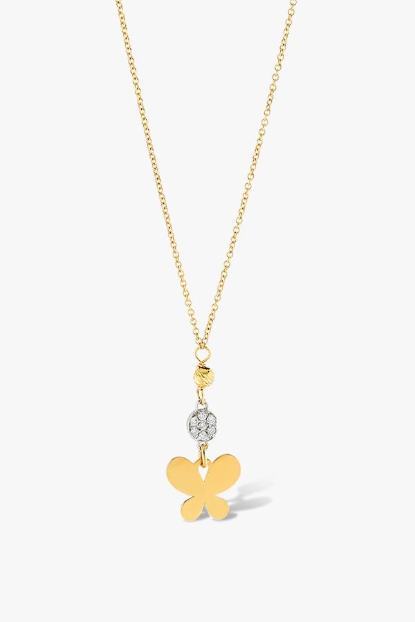 Collier-en-or-jaune-18K-orné-d'un-pendentif-composé-de-papillon-diamants