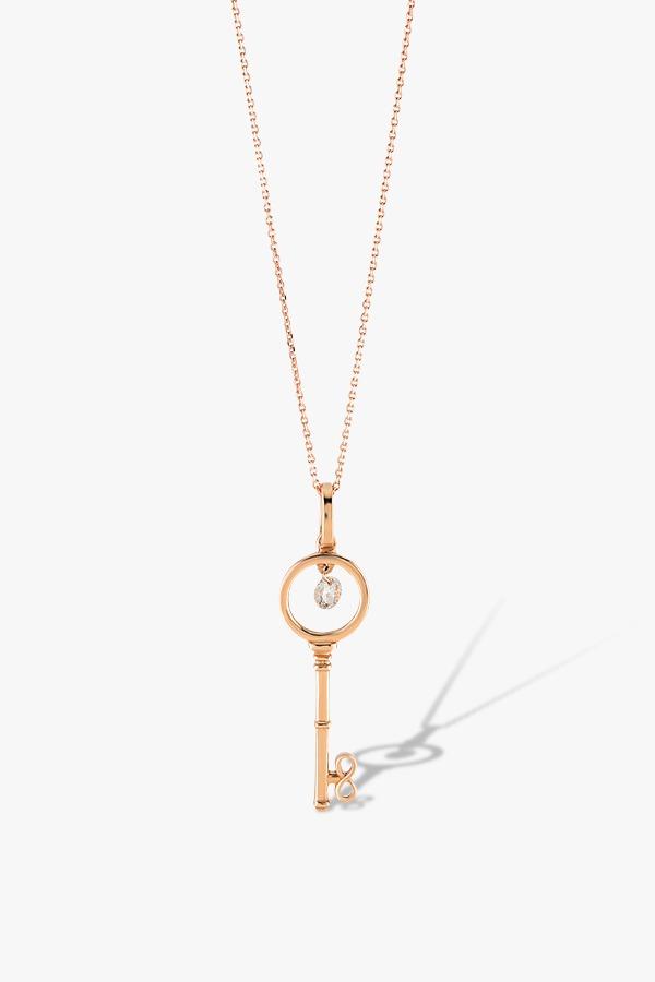 Collier-en-or-rose-18K-orné-d'un-pendentif-en-forme-de-clé