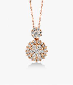 Collier-en-or-rose-18K-orné-d'un-pavé-de-diamants-
