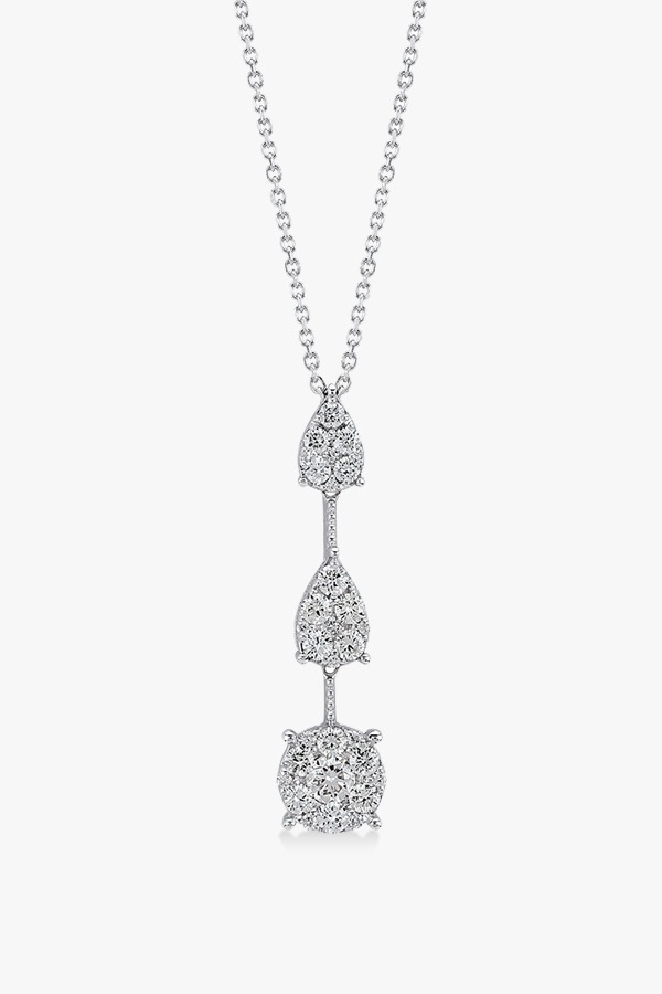 Collier-intemporel-en-Y en or blanc et diamants