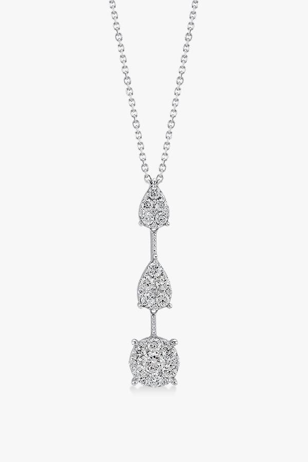 Collier-intemporel-en-Y en or blanc et diamants