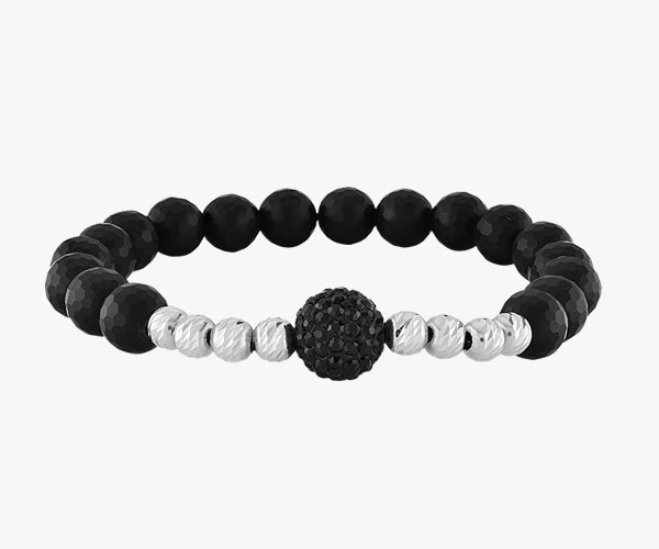 Men's bracelet- Composed-of-black-stones-onyx-and-balls-gold