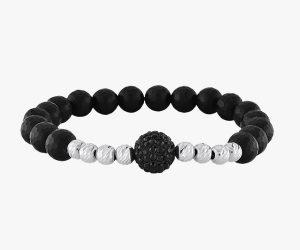 Bracelet homme- Composé-de-pierres-noires-onyx-et-de-boules-d'or