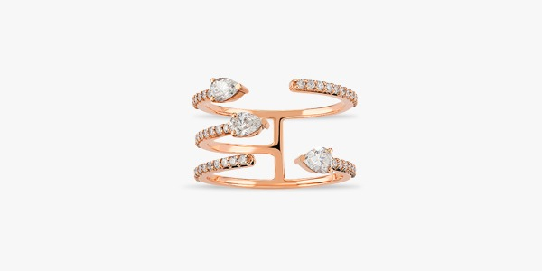 Bague en or rose et diamants Rafinity