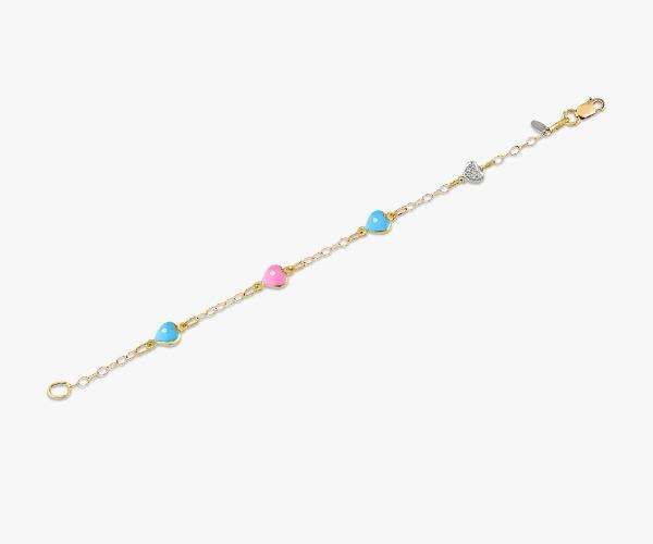 Gourmette-en-or-jaune-18K-composée-de-quatre-cœurs-colorés-et-sertis-de-diamant-pour-un-éclat-magique