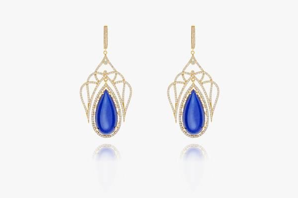 Boucles-d'oreille-en-or-18K-serties-de-zirconium-et-de-Lapis-Lazuli
