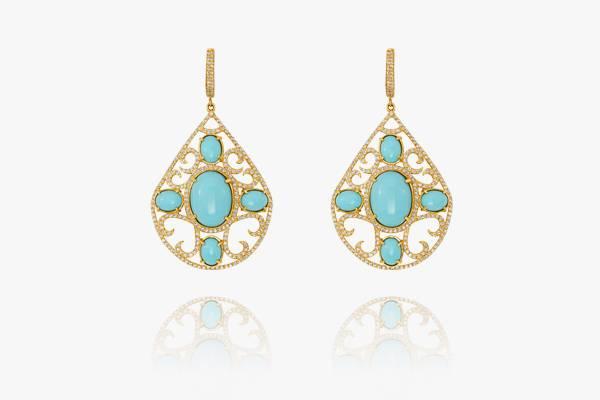 Boucles-d'oreilles-en-or-18K-serties-de-zirconium-et-de-turquoise